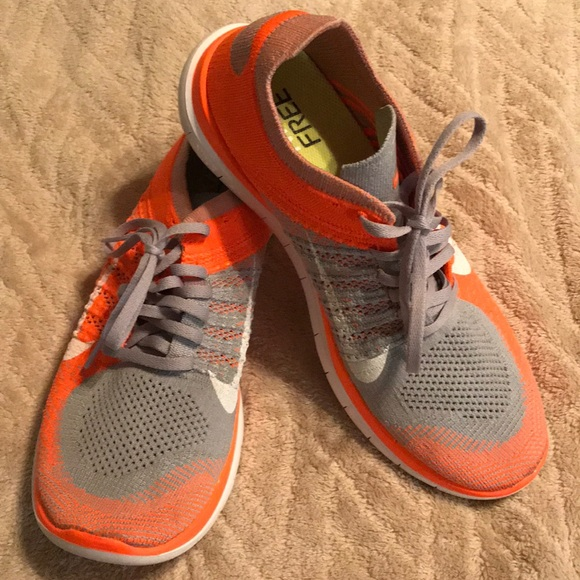 finest selection 489be 02716 Nike Free Flyknit 4.0 - Orange & Grey